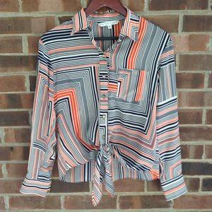 NWOT Trina Turk ❤️100% silk blouse tie front